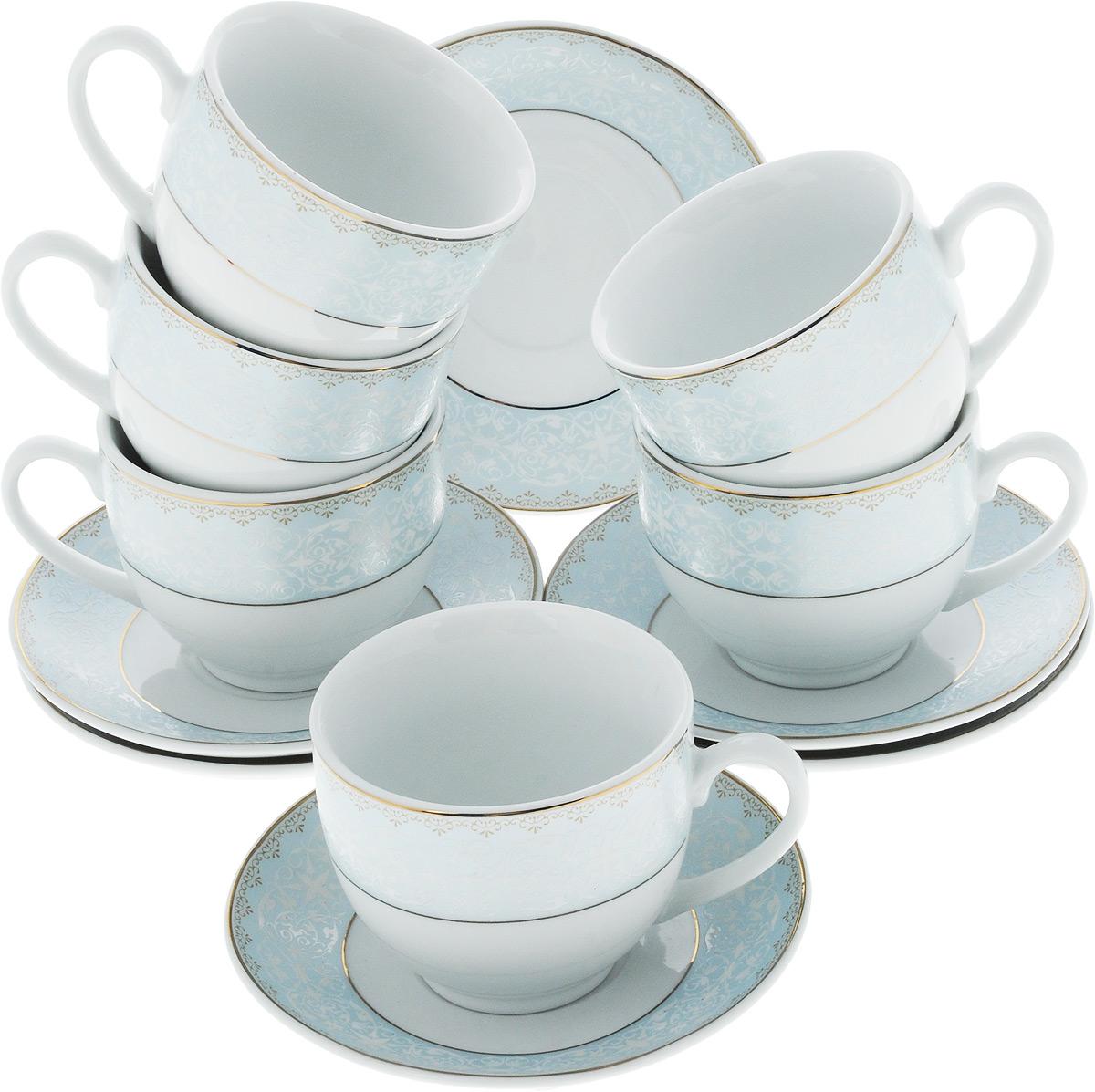 Набор чайный Loraine, 12 предметов. 25902115510Чайный набор Loraine на 6 персон выполнен из высококачественного костяного фарфора - материала, безопасного для здоровья и надолго сохраняющего тепло напитка. В наборе 6 чашек и 6 блюдец. Несмотря на свою внешнюю хрупкость, каждый из предметов набора обладает высокой прочностью и надежностью. Изделия украшенызолотистой эмалью и красивым орнаментом. Такой чайный набор станет украшением стола, а процесс чаепития превратится в одно удовольствие!Такой набор можно преподнести в качестве оригинального и практичного подарка для родных и близких. Объем чашки: 240 мл. Диаметр чашки (по верхнему краю): 8,5 см. Высота чашки: 7 см. Диаметр блюдца: 13,5 см.