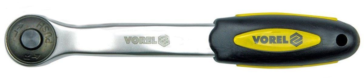 Трещотка изогнутая Vorel CrV, 1/4, 72 зуба80621Трещотка изогнутая VOREL, 72 зуба, тип 1/4, изготовлена из инструментальной стали CrV.