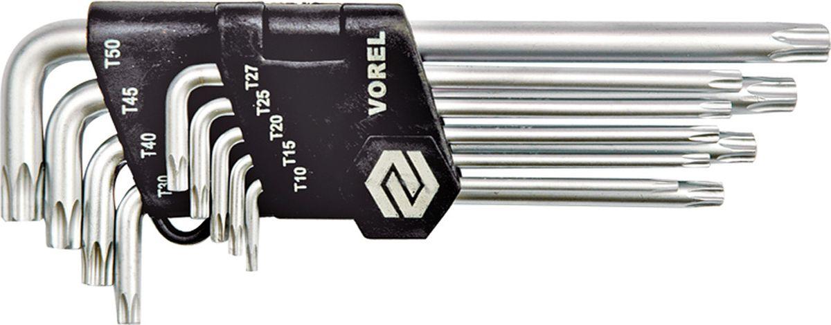 Набор ключей Vorel Torx Security CrV, Т10-Т50CA-3505Набор ключей VOREL TORX-SECURITY, размеры T10 - T50, изготовлены из инструментальной стали CrV.