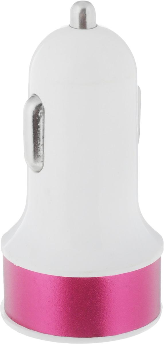 Адаптер автомобильный Главдор, цвет: белый, малиновый, 2 x USB, 12В20736Адаптер Главдор предназначен для зарядки мобильных телефонов, смартфонов, небольших планшетных ПК. Оснащен двумя USB выходами. При использовании одного выхода, ток до 2,1А, двух - 1А. Напряжение: 12В.