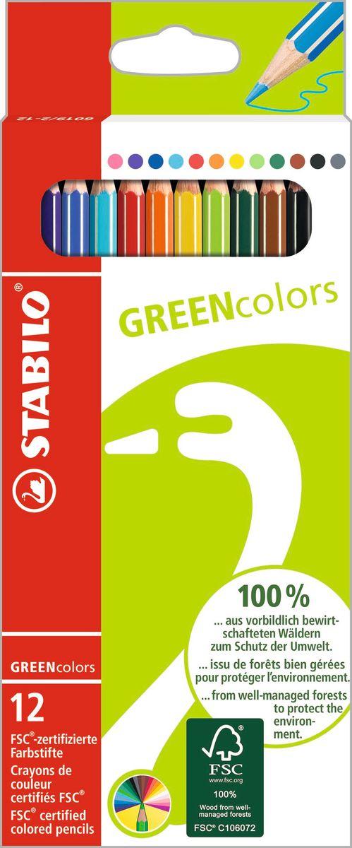 Stabilo Набор цветных карандашей Green Colors 12 цветовC13S041944Зеленая серия Stabilo GREEN.Экотовары – перспективное направление и действенный способ повышения лояльности к продукции. *Знак FSC, которым отмечена Зеленая серия Stabilo – это надежный критерий для выбора покупателями качественной, экологически безопасной продукции, т.к. гарантирует контроль источника древесины. У товаров этой серии современный, соответствующий своей идее дизайн упаковки. Цветные карандаши обеспечивают легкую смешиваемость красок и мягкие, однородные по цвету линии. Высокая степень пигментации гарантирует особую яркость цвета, исключительную покрывающую способность и высокую устойчивость к свету. В состав грифелей входит пчелиный воск, благодаря чему грифели легко рисуют на бумаге, не царапая ее и не крошась, и обладают повышенной устойчивостью к нагрузкам. Карандаши не ломаются при рисовании и затачивании. Корпус карандашей покрыт лаком на водной основе, легко и аккуратно затачивается.