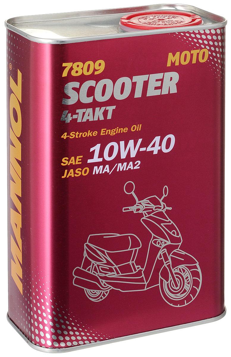 Моторное масло MANNOL 7809 Scooter 4-Takt, полусинтетическое, 1 л4023Современное моторное масло, специально разработанное для 4-х тактных двигателей скутеров, мотороллеров, мопедов с каталитическим нейтрализатором и без него. Синтетический пакет присадок обеспечивает устойчивую работу системы смазки высоконагруженных двигателей большого и малого объема (от 50 до 650 см3) с воздушным или водяным охлаждением. Высококачественная базовая основа гарантирует максимальную защиту от износа и исключительную чистоту деталей двигателя. Отличается высокими термостабильными характеристиками. Может применяться с этилированным и неэтилированным бензином. Продукт имеет допуски / соответствует спецификациям / продуктам:SAE 10W-40API SLJASO MA/MA2YAMAHA SUZUKI KAWASAKI HONDA