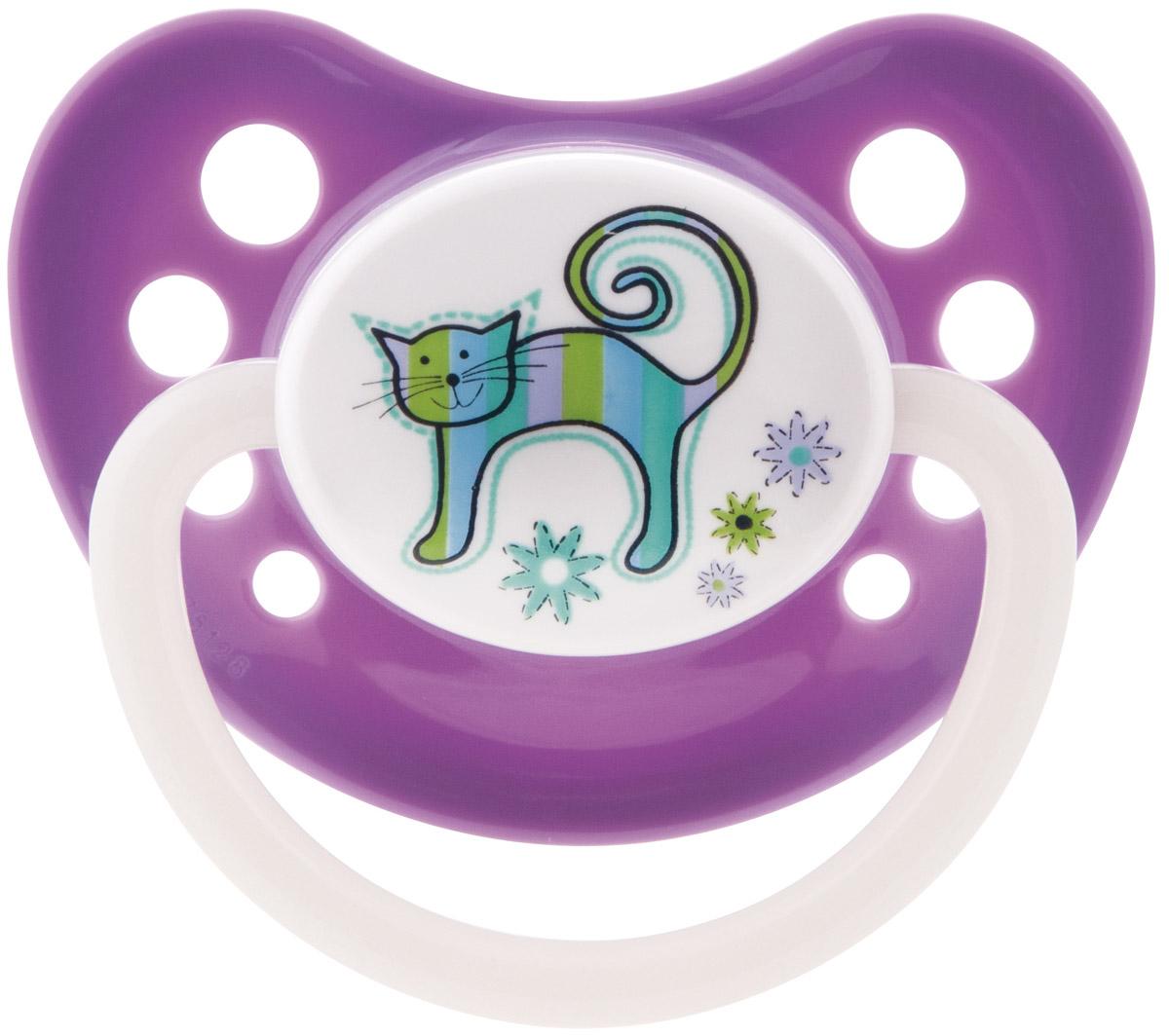 Canpol Babies Пустышка латексная ортодонтическая Zoo от 6 до 18 месяцев цвет фиолетовый