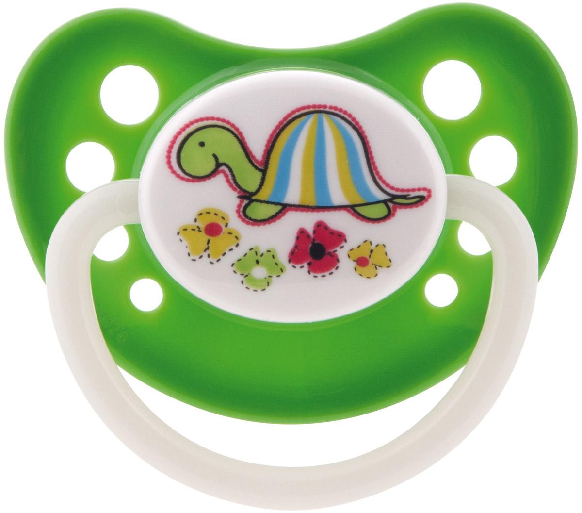Canpol Babies Пустышка латексная ортодонтическая Zoo от 6 до 18 месяцев цвет зеленый