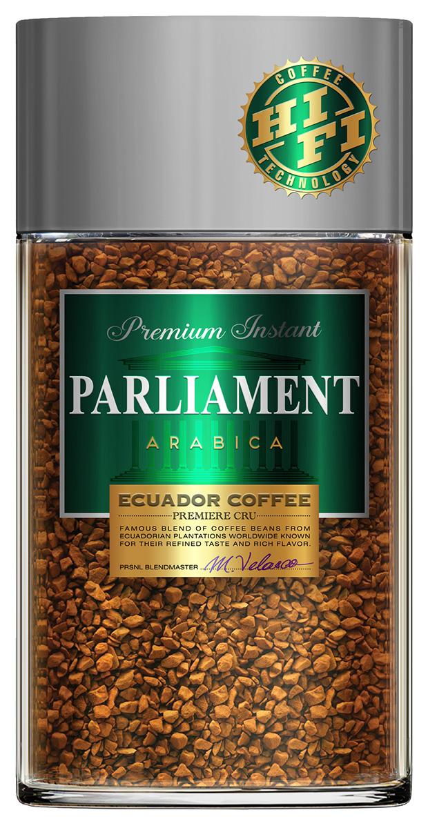 Parlament Arabica кофе растворимый, 100 г0120710Кофе Parlament - это высокогорная эквадорская арабика, выросшая прямо на Экваторе, на склонах Анд. Кофейные зерна, вызревшие на высоте около 2000-2800 м выше уровня моря, под лучами жаркого солнца, на чистом воздухе в условиях минимальных температурных перепадов, обладают превосходными характеристиками. Кофе Parlament высоко ценится во всем мире за свой насыщенный вкус и высокое содержание полезных веществ.
