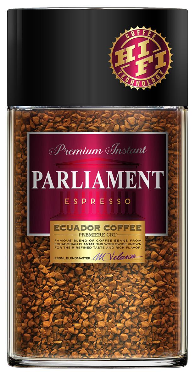 Parlament Espresso кофе растворимый, 100 г0120710Кофе Parlament - это высокогорная эквадорская арабика, выросшая прямо на Экваторе, на склонах Анд. Кофейные зерна, вызревшие на высоте около 2000-2800 м выше уровня моря, под лучами жаркого солнца, на чистом воздухе в условиях минимальных температурных перепадов, обладают превосходными характеристиками. Кофе Parlament высоко ценится во всем мире за свой насыщенный вкус и высокое содержание полезных веществ.