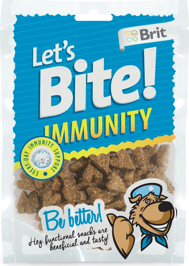 Лакомство для собак Brit Lets Bite! Immunity / Иммунитет, 150 г5567004Лакомство Brit Lets Bite Иммунитет для собак.Поддержка иммунитета – функциональное лакомство для собак. Brit Let's Bite Иммунитет. Вкусно и полезно.Состав: рис, курица, жидкий крахмал, коллаген, рыбий жир лососевых рыб, натуральные ароматизаторы, лечебная дрожжевая культура (источник маннанолигосахаридов), сушеная хлорелла (20 г/кг), сушеные плоды шиповника (15 г/кг). Аналитический состав: сырой протеин 16%, сырой жир 7%, сырая зола 3,5%, сырая клетчатка 2%, влага 17%.Питательные добавки на 1 кг: витамин C (3a312) 500 мг/кг.