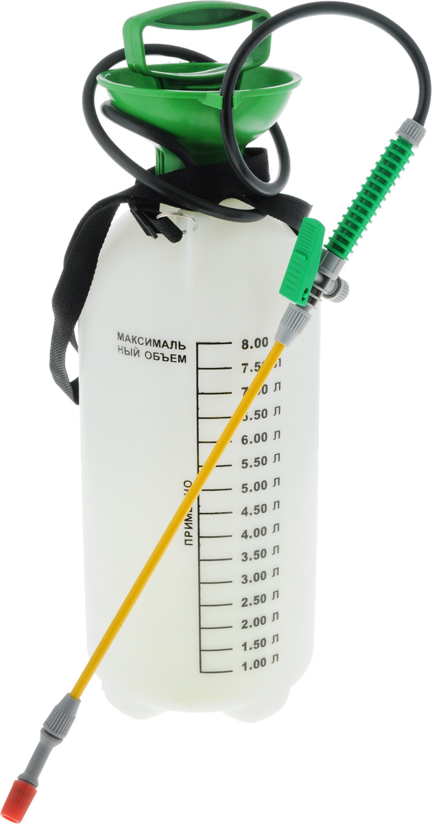 Опрыскиватель помповый Santino, ранцевый, 8 л8L-BОпрыскиватель помповый Santino идеально подходит для разбрызгивания моющих средств, удобрений, средств по уходу за растениями, жидкого воска, препаратов для борьбы с насекомыми, обезжиривателей. Применяется в цвето/садоводстве, клининге и дезинфекции. Опрыскиватель снабжен пластиковым резервуаром на 8 литров, тонкой рукояткой со шлангом, регулируемой насадкой и блокировкой триггера. Материал изделия очень прочен и устойчив к агрессивным веществам, содержащимся в удобрениях и моющих средствах. Пневматический насос, вмонтированный в крышку, используется для распыления жидкостей. Закачка воздуха производится путем перемещения ручки вверх и вниз. Для подачи жидкости необходимо нажать на рычаг, расположенный на рукоятке. Плечевой ремень позволяет удобно переносить опрыскиватель на плече. На внешних стенках резервуара имеется шкала литража. Длина рукоятки: 56 см. Диаметр основания: 18 см. Высота резервуара: 55 см.
