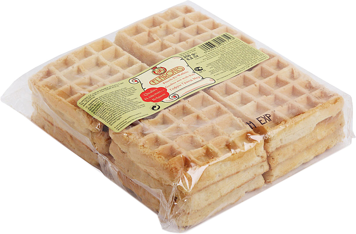 Flaronis Гранд Мер вафли бисквитные гофрированные, 250 г0120710Классические бельгийские гофры - воздушные дрожжевые вафли. Отличаются нежным вкусом и насыщенным ароматом.