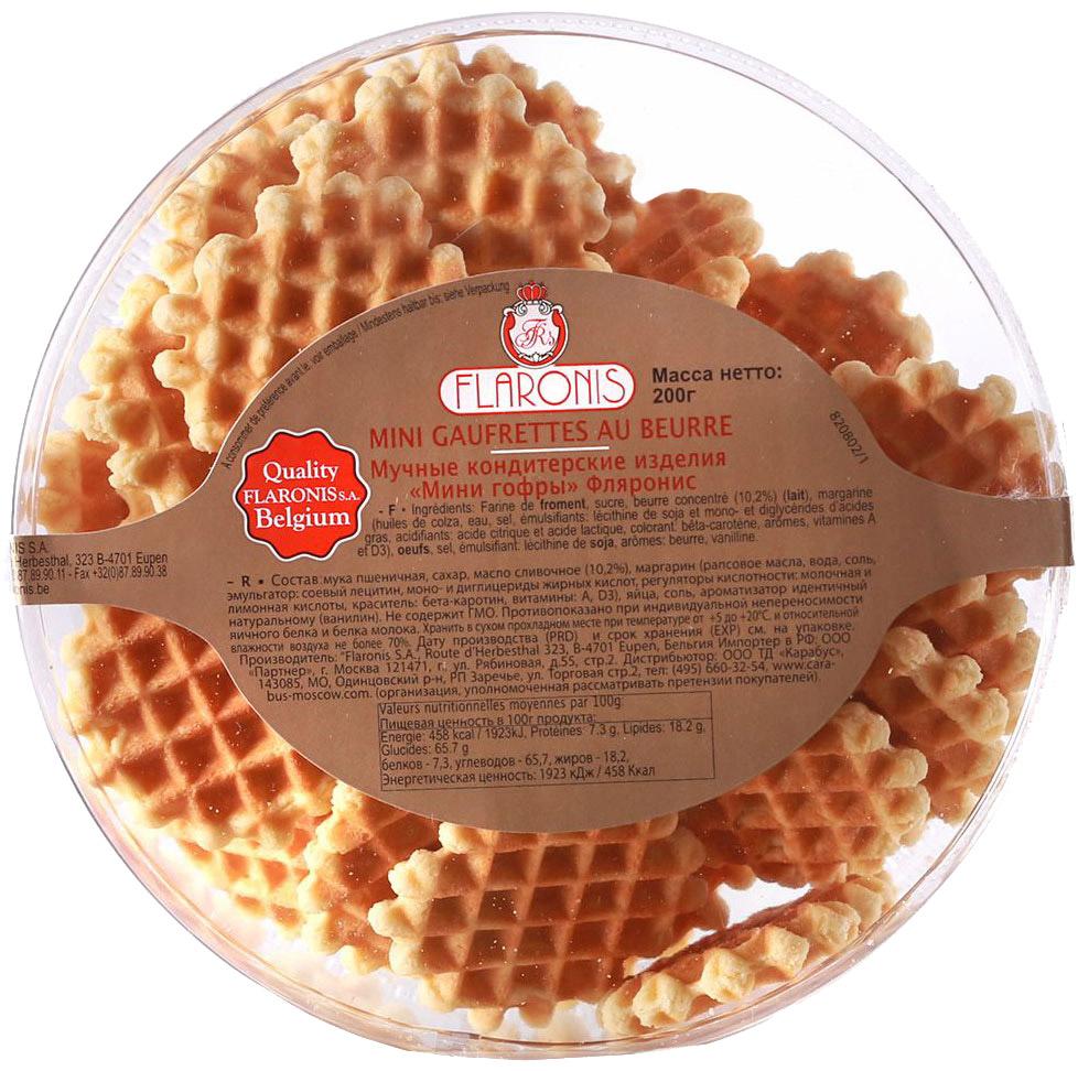 Flaronis Мини гофры, 200 г0120710Бельгийские гофры - воздушные дрожжевые вафли, покрытые молочным шоколадом. Отличаются нежным вкусом и насыщенным ароматом.