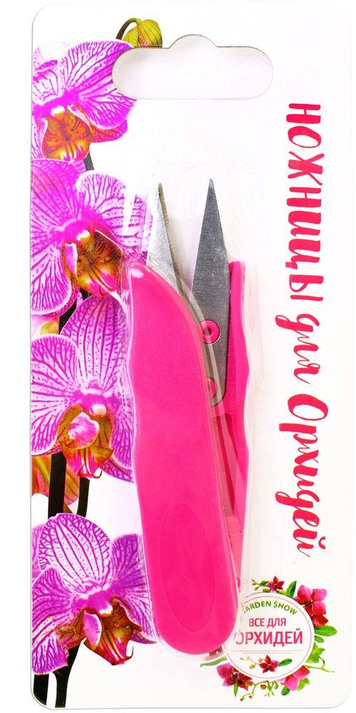 Ножницы для орхидей Garden Show, цвет: розовый531-402Ножницы для орхидей Garden Show идеально подходят для пересадки растений, удаления засохших корней и цветоносов орхидей. Такие ножницы позволяют не травмировать листья орхидеи и не оставляют заусенцев. Изготовлены из высококачественной нержавеющей стали и пластика. Ножницы острые, долговечные, прочные. Удобны для использования как правой, так и левой рукой.