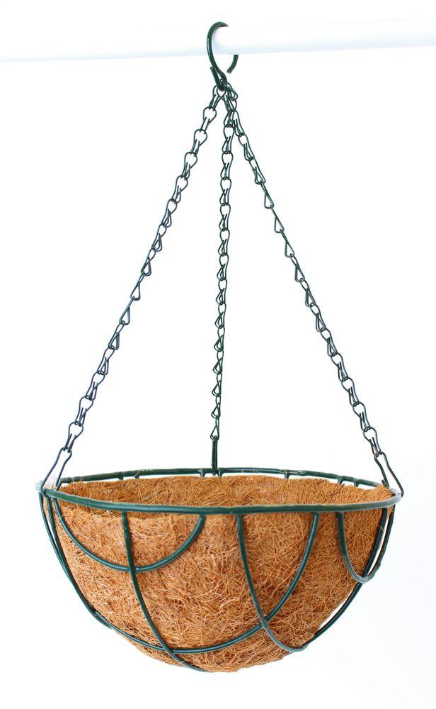 Кашпо подвесное Garden Show, с вкладышем, диаметр 25 см. 46650610503Предназначены для размещения декоративных растений как снаружи, так и внутри помещения.Подвешивается на трех цепочках, объединенных удобным крючком.Наличие кокосового наполнителя не требует использования цветочного горшка