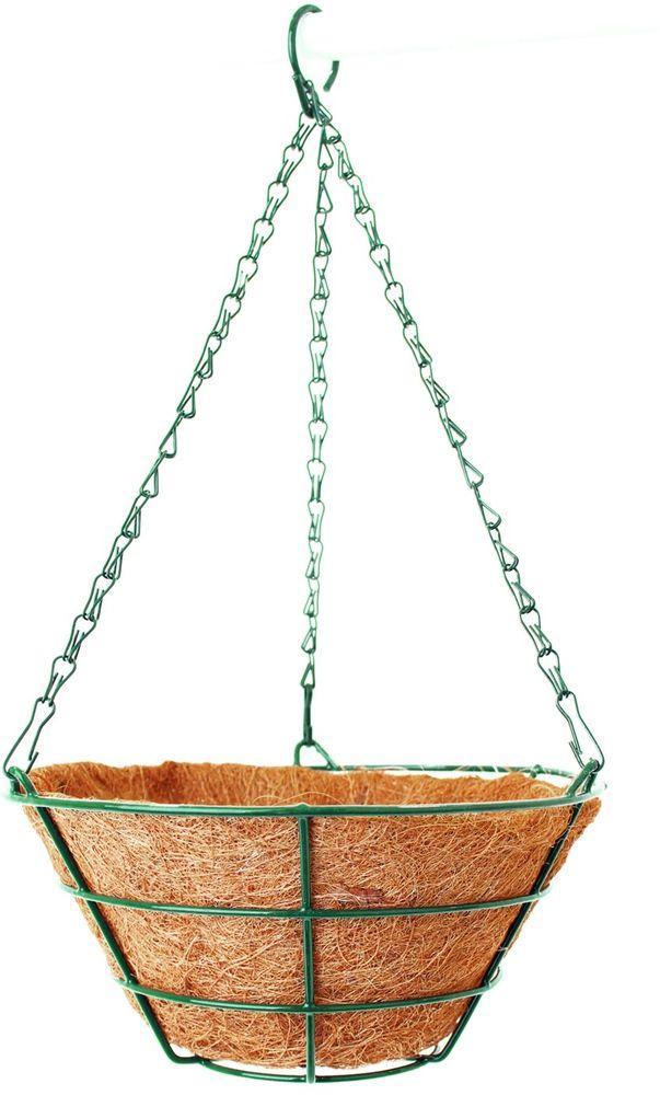 Кашпо подвесное Garden Show, с вкладышем, диаметр 25 см531-105Предназначены для размещения декоративных растений как снаружи, так и внутри помещения.Подвешивается на трех цепочках, объединенных удобным крючком.Наличие кокосового наполнителя не требует использования цветочного горшка