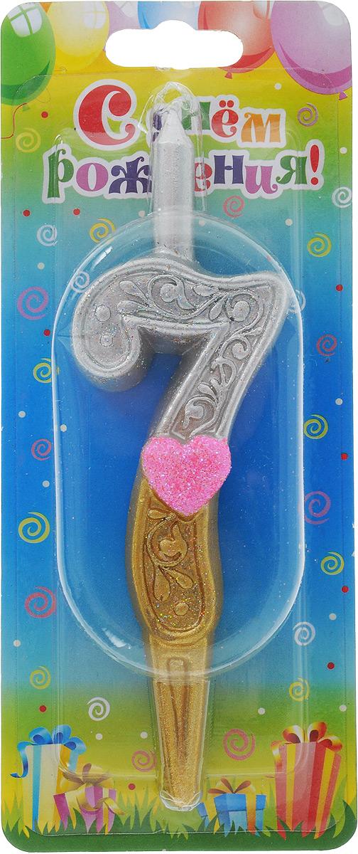 Свеча для торта Омский cвечной завод  Цифра 7 с сердечками , высота 12,5 см -  Свечи для торта