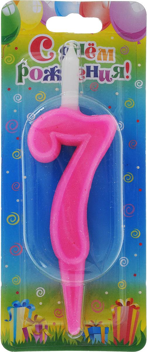 Свеча для торта Омский cвечной завод  Цифра 7 , цвет: розовый, высота 12,5 см -  Свечи для торта