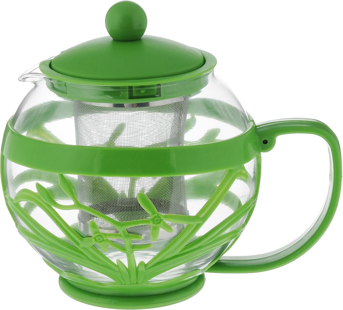 Чайник заварочный Menu Мелисса, с фильтром, цвет: прозрачный, зеленый, 750 мл68/5/4Чайник Menu Мелисса изготовлен из прочного стекла и пластика. Он прекрасно подойдет для заваривания чая и травяных напитков. Классический стиль и оптимальный объем делают его удобным и оригинальным аксессуаром. Изделие имеет удлиненный металлический фильтр, который обеспечивает высокое качество фильтрации напитка и позволяет заварить чай даже при небольшом уровне воды. Ручка чайника не нагревается и обеспечивает безопасность использования. Нельзя мыть в посудомоечной машине. Диаметр чайника (по верхнему краю): 8 см.Высота чайника (без учета крышки): 11 см.Размер фильтра: 6 х 6 х 7,2 см.