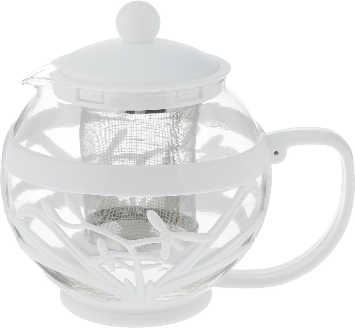 Чайник заварочный Menu Мелисса, с фильтром, цвет: прозрачный, белый, 750 млVT-1520(SR)Чайник Menu Мелисса изготовлен из прочного стекла и пластика. Он прекрасно подойдет для заваривания чая и травяных напитков. Классический стиль и оптимальный объем делают его удобным и оригинальным аксессуаром. Изделие имеет удлиненный металлический фильтр, который обеспечивает высокое качество фильтрации напитка и позволяет заварить чай даже при небольшом уровне воды. Ручка чайника не нагревается и обеспечивает безопасность использования. Нельзя мыть в посудомоечной машине. Диаметр чайника (по верхнему краю): 8 см.Высота чайника (без учета крышки): 11 см.Размер фильтра: 6 х 6 х 7,2 см.