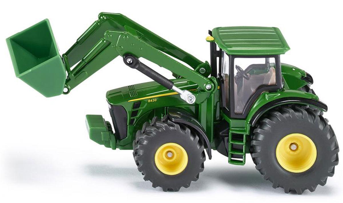 Siku Трактор John Deere 8430 с фронтальным погрузчиком машинки tomy трактор john deere monster treads с большими резиновыми колесами tomy
