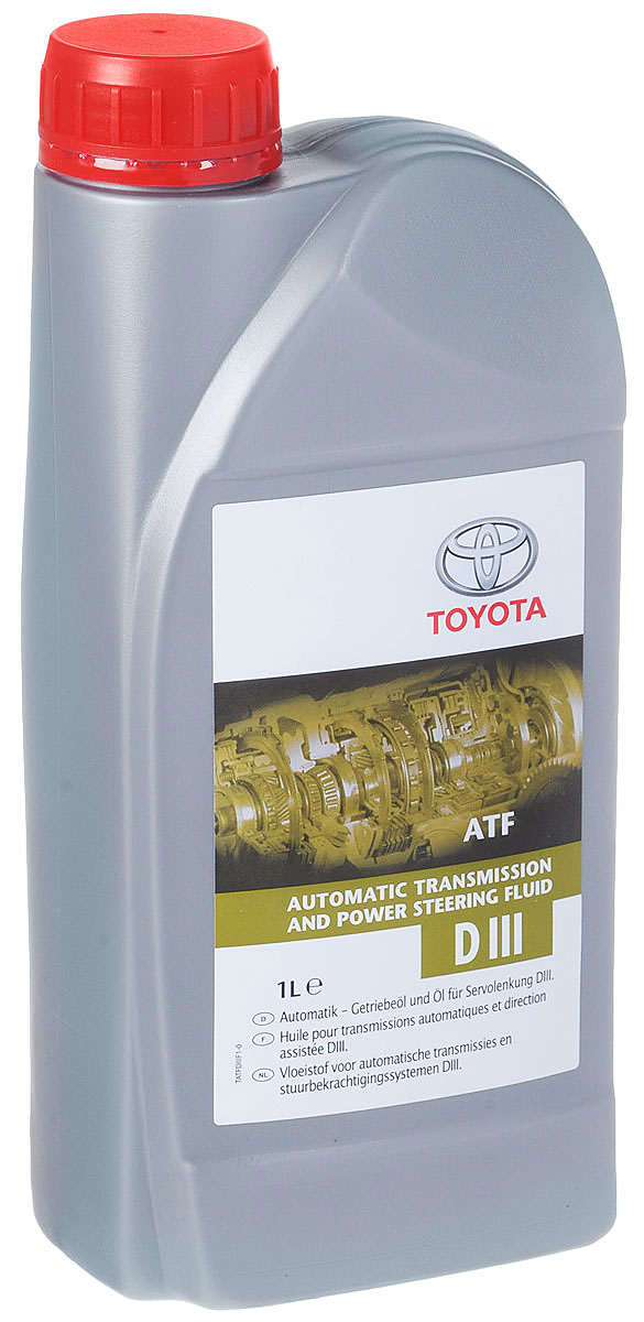 Масло трансмиссионное Toyota, для АКПП и ГУР, синтетическое, класс вязкости ATF, 1 л531-402Трансмиссионное масло Toyota - жидкость для автоматических трансмиссий Toyota Dexron III, которое полностью соответствует требованиям, предъявляемым к жидкостям ATF данного класса. Оптимальные вязкостные характеристики, износостойкость, хорошая текучесть при низких температурах, стойкость к окислению обуславливают применение этой жидкости в автомобилях Toyota. Рекомендуется использовать ATF Dexron III, если это указано в Руководстве пользователя автомобиля.Товар сертифицирован.