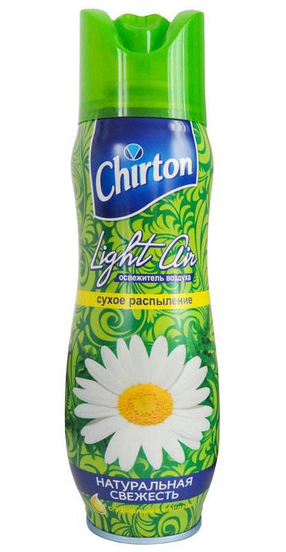 Освежитель воздуха Chirton Light Air, натуральная свежесть, 300 мл68/5/3В освежителе воздуха Chirton Light Air используется новая формула - сухое распыление. Благодаря ей аромат становится более стойким, не остаются брызги и пятна на полу и мебели, которые могут возникнуть при использовании обычных аэрозолей. Освежитель воздуха Chirton Light Air помогает быстро избавиться от неприятных запахов.Товар сертифицирован.Уважаемые клиенты!Обращаем ваше внимание на возможные изменения в дизайне упаковки. Качественные характеристики товара остаются неизменными. Поставка осуществляется в зависимости от наличия на складе.