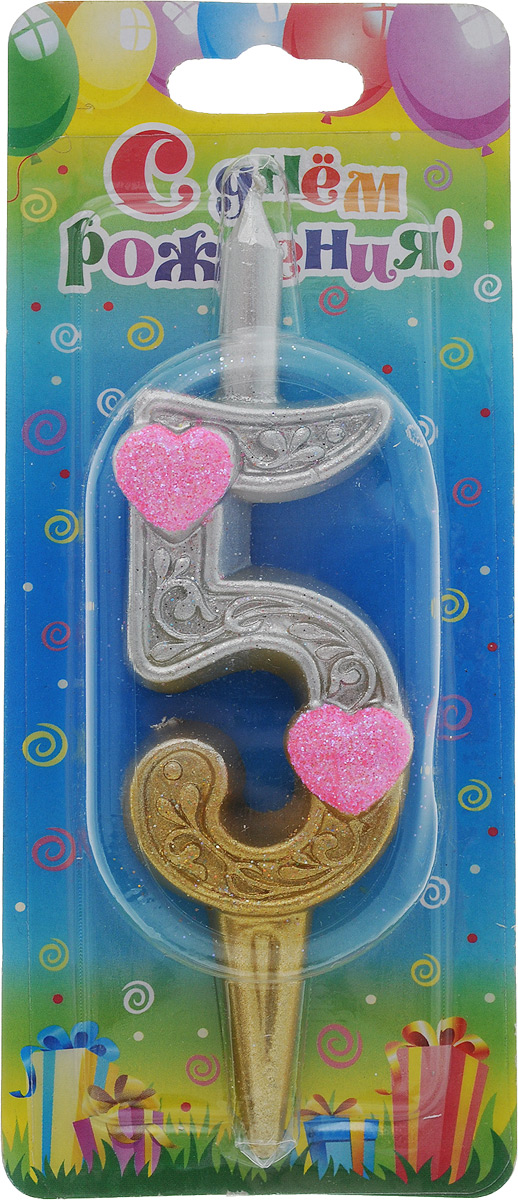 Свеча для торта Омский cвечной завод  Цифра 5 с сердечками , высота 12,5 см -  Свечи для торта