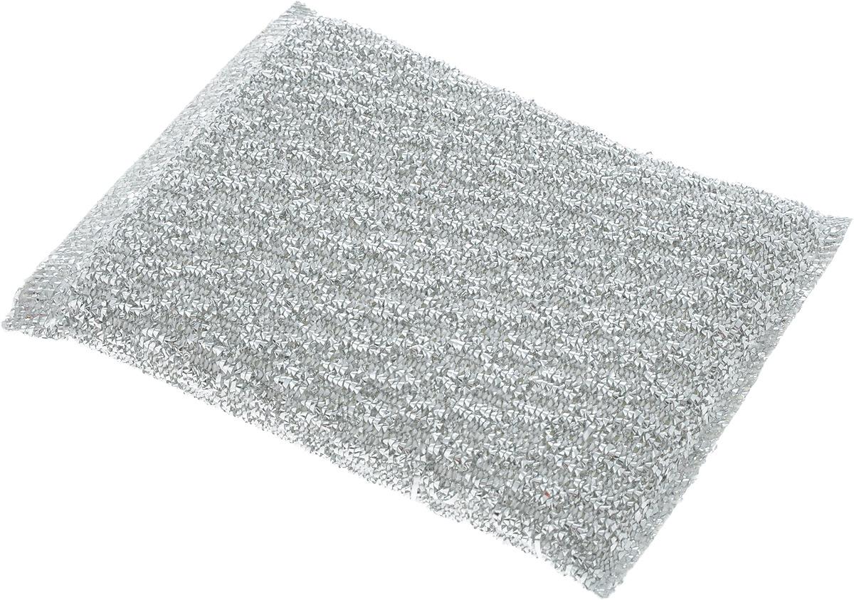 Губка для мытья посуды Home Queen, с металлизированной нитью, цвет: серебристый, 120 х 80 х 25 мм787502Губка Home Queen изготовлена из поролона в чехле из полипропиленовой металлизированной нити. Предназначена для мытья посуды и очистки сильно загрязненных кухонных поверхностей. Позволяет экономить моющее средство, благодаря структуре поролона, который дает много пены при использовании.