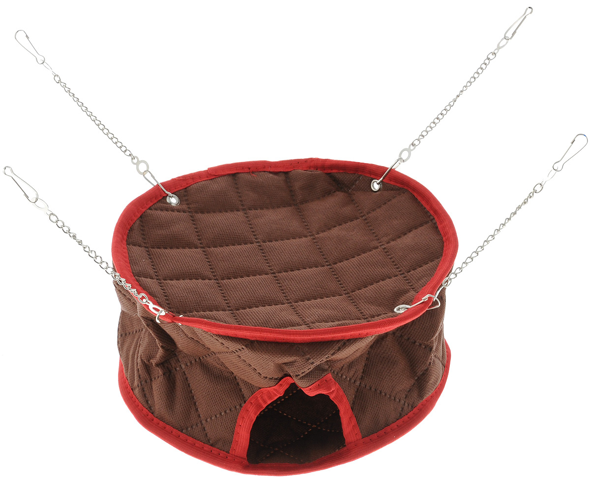 Домик для грызунов Shu-Shu Круглый, цвет: коричневый, 23 х 23 х 12 смsh-03011MПодвесной домик, выполненный из текстиля, подходит для хомяков, крыс, шиншилл, дегу, и морских свинок.В комплекте 4 цепочки и 8 карабинов для крепления к клетке. Долго служит благодаря металлическим креплениям.