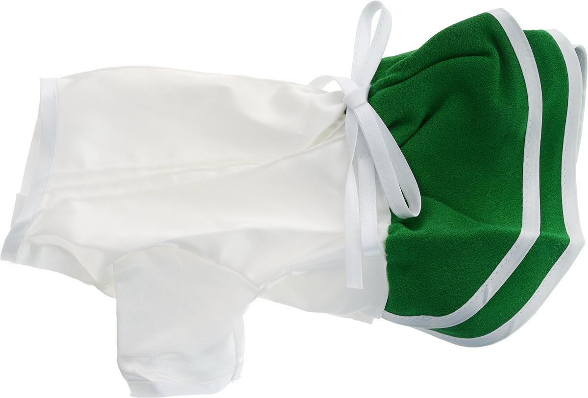 Платье для собак GLG Летнее ассорти, цвет: зеленый. Размер M472-13Платье для собак GLG Летнее ассорти выполнено из высококачественного текстиля и оформлено надписью PretaPet. Короткие рукава не ограничивают свободу движений, и собачка будет чувствовать себя в ней комфортно. Изделие застегивается с помощью кнопок на животе, а также дополнительно имеет завязки на спинке.Модное и невероятно удобное платье защитит вашего питомца от пыли и насекомых на улице, согреет дома или на даче. К платью прилагаются запасные кнопки. Длина спины: 29,5 см. Объем груди: 31-33 см.