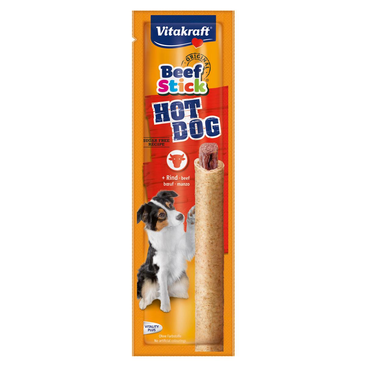 Лакомство для собак Vitakraft Beef-Stick Hot Dog, 30 гDP101FЛакомство для собак Vitakraft Beef-Stick Hot Dog - это натуральная мясная колбаска, без консервантов, красящих веществ и искусственных усилителей вкуса. Используется в качестве дополнения к основному корму и для поощрения при дрессировке.Состав: злаки, мясо и мясные субпродукты (говядина 32%, мышечное мясо 40%), минералы, продукты растительного происхождения. Анализ состав: 22% влажность, 20% протеин, 13,2% жир, 1% клетчатка, 5% зола. Витамины: А 4800 МЕ, Д3 480 МЕ. Товар сертифицирован.