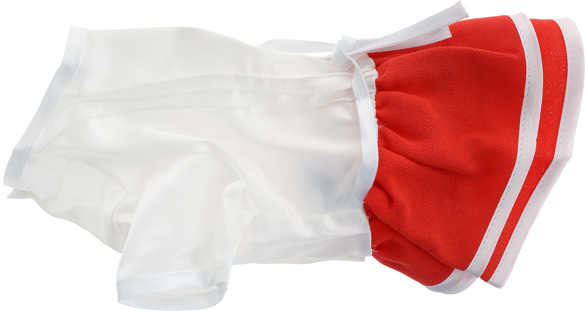 Платье для собак GLG Летнее ассорти, цвет: красный. Размер XSDM-160326_бордовыйПлатье для собак GLG Летнее ассорти выполнено из высококачественного текстиля и оформлено надписью PretaPet. Короткие рукава не ограничивают свободу движений, и собачка будет чувствовать себя в ней комфортно. Изделие застегивается с помощью кнопок на животе, а также дополнительно имеет завязки на спинке.Модное и невероятно удобное платье защитит вашего питомца от пыли и насекомых на улице, согреет дома или на даче. К платью прилагаются запасные кнопки. Длина спины: 24 см. Объем груди: 23-25 см.