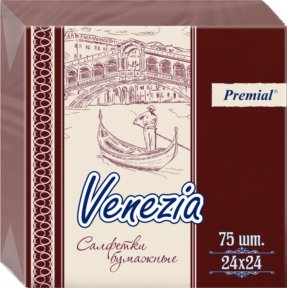 Premial Venezia Салфетки декоративные однослойные цветные, 75 шт
