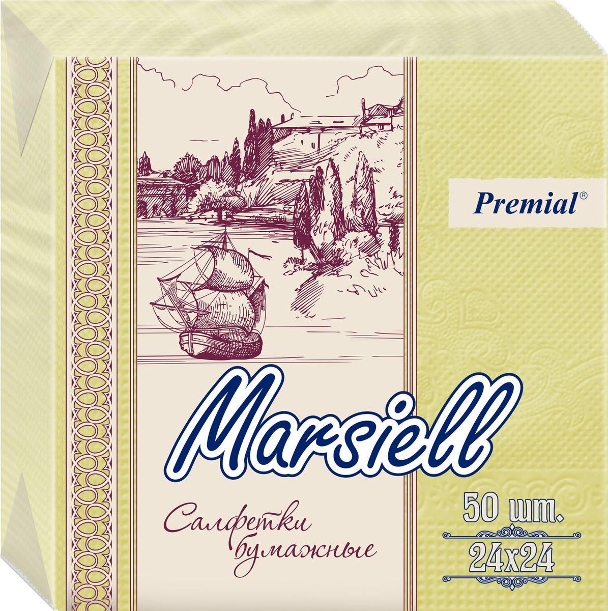 Premial Marsiel Салфетки декоративные двухслойные, цвет: желтый, 50 шт