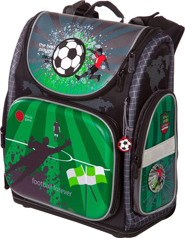 Hummingbird Ранец для мальчика Football Forever цвет черный, зеленыйNK15Особенности конструкции ранца:- рельефная ортопедическая спинка с каналами для циркуляции воздуха и сетчатой мембраной ( дышащая система повторяющая контуры спины).- система регулировки лямок по высоте крепления «ERGO system» (Позволяет самостоятельно выбирать наиболее комфортное расположение ранца на спине ребенка).- ранец оснащен поясной поддержкой для удобной и правильной фиксации- эргономичная обтекаемая форма- ткань ранца обладает водоотталкивающими свойствами, повышенной износостойкостью, легко моется и чистится.- ранец имеет одно большое основное отделение на молнии (куда легко помещается папка для труда). Внутри основного отделения расположены перемычки для комфортного размещения тетрадей и учебников. Так же ранец имеет три удобных кармана, два боковых для мелких предметов и один передний. В переднем кармане расположен многофункциональный органайзер. Он включает в себя карман для мобильного телефона, сетчатый карман для мелочей, отделения для ручек и карандашей, подвеску для ключей.- дно ранца оригинальной конструкции, сделано из специального высокопрочного пластика с логотипом «Hummingbird». Оно устойчиво на горизонтальной поверхности, защищает ранец от загрязнений, легко протирается влажной тряпкой.- на лямках, боковых поверхностях и крышке ранца расположены светоотражающие элементы.-в комплект ранца входит удобный мешок для обуви со специальной сеткой для проветриванияРазмер:высота: 36,5 cм.; ширина: 32 cм.; глубина: 17,5 cм.;