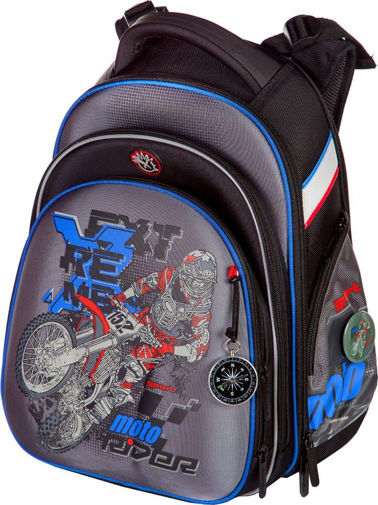 Hummingbird Ранец для мальчика Extreme Moto Мотоциклист цвет черный, серыйT75Особенности конструкции ранца – рюкзака:- рельефная ортопедическая спинка с каналами для циркуляции воздуха и сетчатой мембраной ( дышащая система повторяющая контуры спины).- система регулировки лямок по высоте крепления «ERGO system» (Позволяет самостоятельно выбирать наиболее комфортное расположение ранца – рюкзака на спине ребенка).- ранец оснащен поясной поддержкой для удобной и правильной фиксации- эргономичная обтекаемая форма- ткань ранца-рюкзака обладает водоотталкивающими свойствами, повышенной износостойкостью, легко моется и чистится.- два больших отделения на молниях. В основном, самом большом отделении расположены жесткие перемычки- вставки, для комфортного размещения тетрадей или учебников. В переднем отделении предусмотрен органайзер с карманом для мобильного телефона, сетчатым карманом для мелочей, отделениями для ручек и карандашей, подвеской для ключей.- система трансформации (при желании объем ранца можно увеличить с помощью дополнительной молнии.- сверху ранца – рюкзака расположена удобная ручка с логотипом « Hummingbird».- на лямках и на боковых поверхностях расположены светоотражающие элементы.- в нижней части ранца – рюкзака установлены рельефные пластиковые ножки.Размер:высота: 39 cм.; ширина: 28 cм.; глубина: 20 cм.;