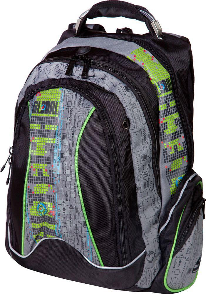 Steiner Ранец детский Global Technology цвет серый, зеленый1-ST1Стильный и красочный школьный рюкзак с ярким необычным принтом для подростка (мальчика или девочки).Характеристики: яркий и насыщенный принт; современный дизайн; ортопедическая, дышащая спинка; плотные широкие легко регулируемые лямки под рост позволяют равномерно распределять нагрузку на спину; нагрудный ремень для распределения нагрузки на спину; влагоизоляционный материал не даст промокнуть ранцу; уплотненная ручка; качественные молнии; легко моющийся долговечный материал; два больших отделения на молниях: в заднем отделении предусмотрен карман для переноски ноутбука, закрывающийся на липучку, а также регулируемые липучкой перегородки для тетрадей и книг, карман для телефона или плеера с отверстием для выхода наушников; в центральном - органайзер для канцелярии; большой торцевой карман на молнии; по 2 боковых кармана с каждой стороны: большой - открытый, маленький на молнии; два скрытых кармана для ценностей на спинке; светоотражающие элементы обеспечат безопасность ребенку в темное время суток; скоба для крепления брелока в передней части рюкзака.