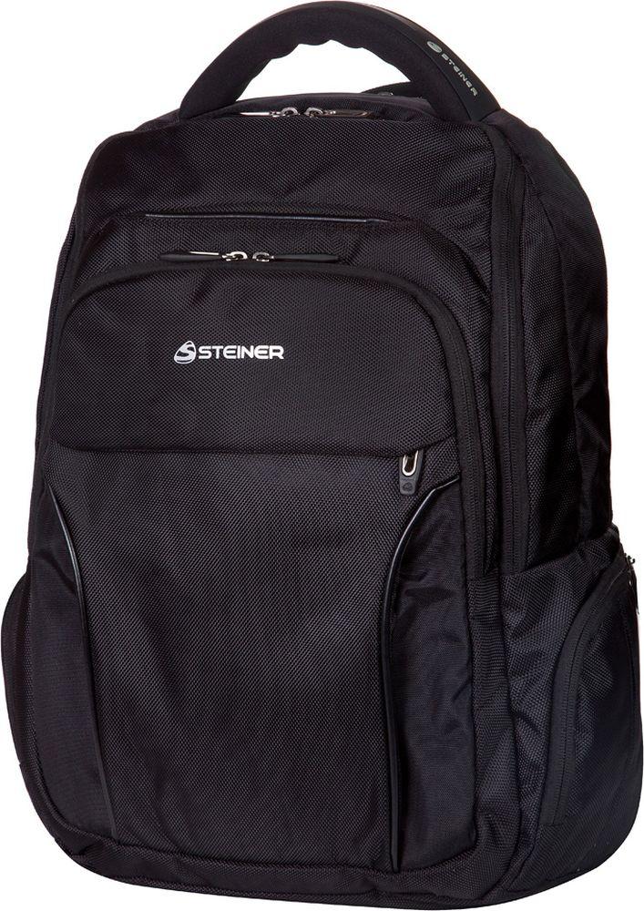 Steiner Ранец для мальчика цвет черный72523WDСтильный строгий рюкзак для мужчин и подростков - многофункциональный, вместительный. Благодаря средним размерам, наличию множества карманов, универсальной расцветке рюкзак подойдет, как для школьников и студентов, так и мужчинам для городских передвижений.Характеристики: современный дизайн; ортопедическая, дышащая спинка; плотные широкие легко регулируемые лямки под рост позволяют равномерно распределять нагрузку на спину; нагрудный ремень для распределения нагрузки на спину; влагоизоляционный материал не даст промокнуть ранцу; уплотненная ручка для переноски в руках; дополнительная ручка-петля для подвешивания рюкзака на крючок; качественные молнии; легко моющийся долговечный материал; два больших отделения на молниях; два передних кармана на молнии; боковые карманы на молнии для мелочей.