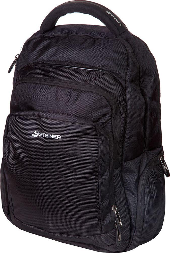Steiner Ранец для мальчика цвет черный1-ST6Стильный строгий рюкзак для мужчин и подростков - многофункциональный, вместительный. Благодаря средним размерам, наличию множества карманов, универсальной расцветке рюкзак подойдет, как для школьников и студентов, так и мужчинам для городских передвижений.Характеристики: современный дизайн; ортопедическая, дышащая спинка; плотные широкие легко регулируемые лямки под рост позволяют равномерно распределять нагрузку на спину; нагрудный ремень для распределения нагрузки на спину; влагоизоляционный материал не даст промокнуть ранцу; уплотненная ручка для переноски в руках; дополнительная ручка-петля для подвешивания рюкзака на крючок; качественные молнии, защищающие попадание влаги внутрь рюкзака; легко моющийся долговечный материал; два больших основных отделения на молниях; два передних кармана на молнии; боковые карманы на молнии для мелочей.