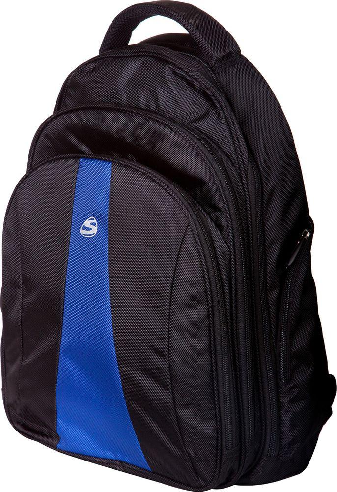 Steiner Ранец для мальчика цвет черный, синий72523WDСтильный строгий рюкзак для мужчин и подростков - многофункциональный, вместительный. Благодаря средним размерам, наличию множества карманов, универсальной расцветке рюкзак подойдет, как для школьников и студентов, так и мужчинам для городских передвижений.Характеристики: современный дизайн; анатомическая, дышащая спинка; плотные широкие легко регулируемые лямки под рост позволяют равномерно распределять нагрузку на спину; влагоизоляционный материал не даст промокнуть ранцу; уплотненная ручка для переноски в руках; дополнительная ручка-петля для подвешивания рюкзака на крючок; качественные молнии, защищающие попадание влаги внутрь рюкзака; легко моющийся долговечный материал; одно большое основное отделение на молнии с двумя бегунками; два передних накладных отделения на молнии (в переднем расположен органайзер для канцелярии); боковые карманы на молнии для мелочей.