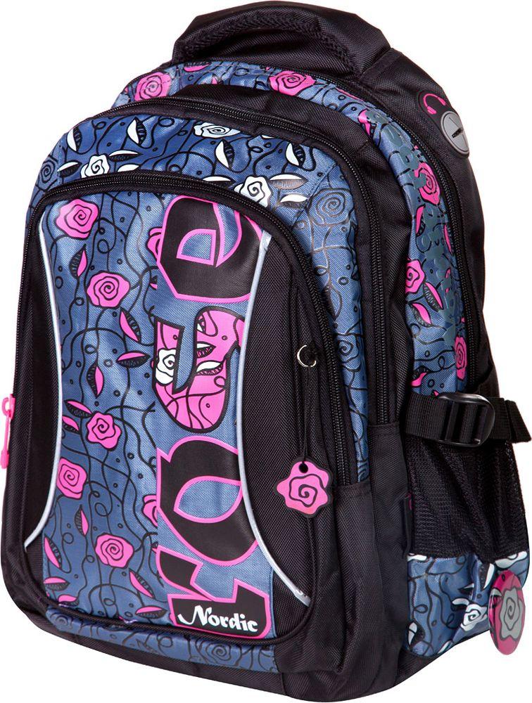 Steiner Ранец для девочки Nordic цвет серый, розовый7645Красивый многофункциональный рюкзак от Steiner для девочекОсобенности: современный стильный дизайн; анатомическая, дышащая спинка; плотные широкие легко регулируемые лямки под рост позволяют равномерно распределять нагрузку на спину; влагоизоляционный материал не даст промокнуть ранцу; уплотненная ручка для переноски в руках; дополнительная ручка-петля для подвешивания рюкзака на крючок; качественные молнии; легко моющийся долговечный материал; два больших отделения на молниях; передний карман на молнии с органайзером для канцелярии; открытые боковые карманы из сетки для бутылок с водой и других мелочей; боковые стяжки для регулировки объема рюкзака и фиксации содержимого; скоба для крепления брелока в передней части рюкзака; отверстие под наушники; светоотражающие элементы обеспечат безопасность в темное время суток.Параметры: Материал: полиэстер Размер: 41*30*18 см Вес: 700 г