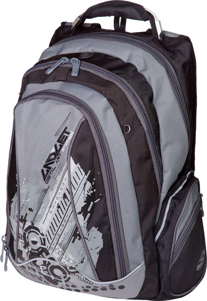 Steiner Ранец для мальчика Digital Art цвет черный, серый5-ST1Школьный рюкзак для мальчика с ярким принтом - стильный, функциональный. Множество карманов, современные технологии и высокое качество исполнения - основные особенности данной модели.Характеристики: яркий и насыщенный принт; современный дизайн; ортопедическая, дышащая спинка; плотные широкие легко регулируемые лямки под рост позволяют равномерно распределять нагрузку на спину; нагрудный ремень для распределения нагрузки на спину; влагоизоляционный материал не даст промокнуть ранцу; уплотненная ручка; качественные молнии; легко моющийся долговечный материал; два больших отделения на молниях: в заднем отделении предусмотрен карман для переноски ноутбука, закрывающийся на липучку, а также регулируемые липучкой перегородки для тетрадей и книг, карман для телефона или плеера с отверстием для выхода наушников; в центральном - органайзер для канцелярии; большой торцевой карман на молнии; по 2 боковых кармана с каждой стороны: большой - открытый, маленький на молнии; два скрытых кармана для ценностей на спинке; светоотражающие элементы обеспечат безопасность ребенку в темное время суток; скоба для крепления брелока в передней части рюкзака.