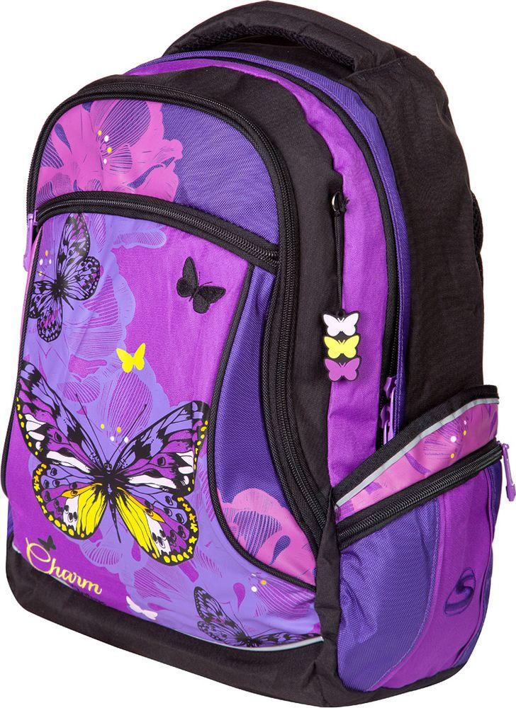 Steiner Ранец для девочки Бабочка цвет фиолетовый5-ST2Стильный школьный фиолетовый рюкзак для девочки подростка с ярким принтом.Характеристики: яркий и насыщенный принт; современный дизайн; анатомическая, дышащая спинка; плотные широкие легко регулируемые лямки под рост позволяют равномерно распределять нагрузку на спину; нагрудный ремень для распределения нагрузки на спину; влагоизоляционный материал не даст промокнуть ранцу; уплотненная ручка; качественные молнии; легко моющийся долговечный материал; одно большое отделение с защитой от попадания дождя с жесткими вставками для хранения тетрадей, карман для очков; два больших торцевых кармана на молнии, в одном - органайзер; по два боковых кармана с каждой стороны: большой - на липучке, маленький на молнии; светоотражающие элементы обеспечат безопасность ребенку в темное время суток; скоба для крепления брелока в передней части рюкзака.