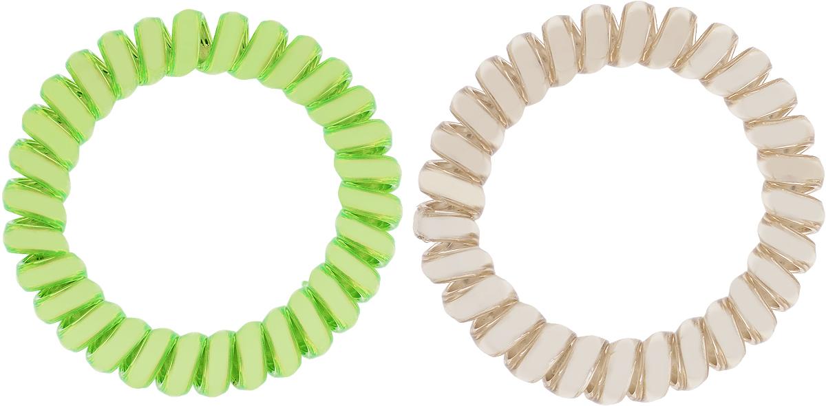 Babys Joy Резинка для волос цвет зеленый золотой 2 шт VT 436Satin Hair 7 BR730MNРезинка для волос Babys Joy выполнена в виде эластичной спирали из пластика металлического цвета. Резинка крепко и надежно фиксирует волосы, не оставляет следов после снятия. Хорошо скользит по волосам, не вызывая ломкости, разрывов и сечения. Такая резинка прекрасно растягивается, при этом не рвется. За счет своей спиральной формы мягко распределяет давление по волосам. Резинка для волос Babys Joy подчеркнет уникальность вашей маленькой модницы и станет прекрасным дополнением к ее неповторимому стилю.