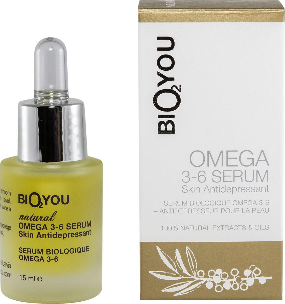 BIO2You Anti-age Skin Care Натуральная сыворотка омега 3-6, антидепрессант для кожи, 15 мл960121Специальная уникальная формула НАТУРАЛЬНОГО АНТИДЕПРЕССАНТА ДЛЯ КОЖИ обеспечивает помолодевший приятный цвет лица, эластичность и ровный цвет кожи, разглаживает кожу. Сыворотка содержит высококонцентрированные активные ингредиенты растительного происхождения и натуральные незаменимые жирные кислоты, которые повышают сопротивляемость кожи. Смесь ценных натуральных масел восстанавливает уровень влаги, придает коже сияние, усиливает микроциркуляцию и восстановление кожи
