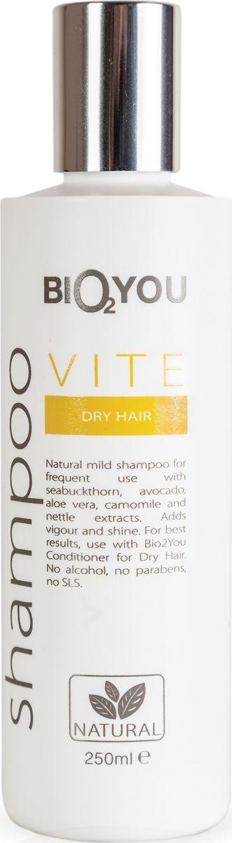 BIO2You, Шампунь Vite для сухих волос, 250961678Нежный натуральный шампунь для частого использования с облепихой, авокадо, алоэ вера и экстрактами ромашки и крапивы. Увлажняeт и делаeт волосы шелковистыми, легкими, обеспечивая сияние. Не содержит спирта, парабенов и SLS