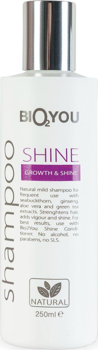 BIO2You Шампунь Shine для блеска и роста волос, 250 мл961685Нежный натуральный шампунь для частого использования с облепихой, женьшенeм, алоэ вера и экстрактoм зеленого чая. Увлажняeт и делаeт волосы шелковистыми, легкими, обеспечивая сияние. Не содержит спирта, парабенов и SLS.
