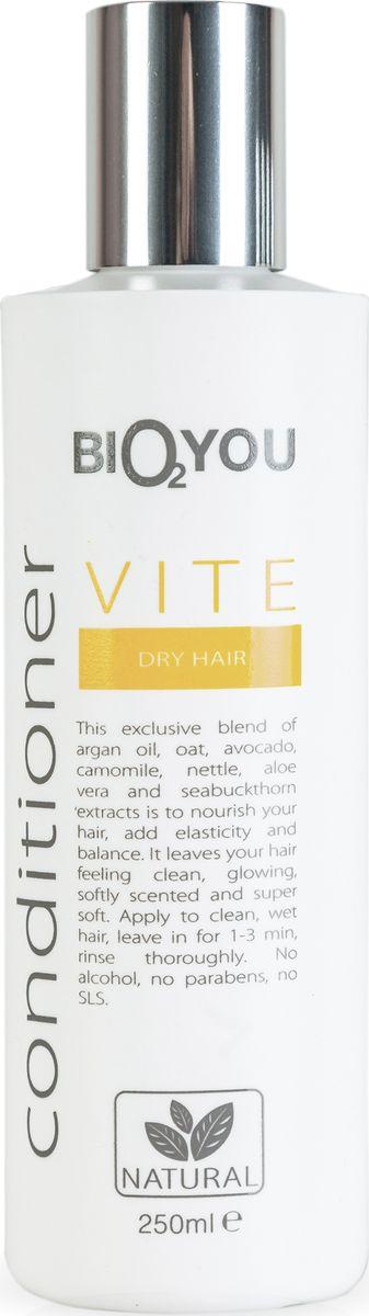 BIO2You Kондиционер Vite для сухих волос, 250 мл961708Нежный кондиционер с аргановым маслом, овсянкой, облепихой, авокадо, алоэ вера и экстрактами ромашки и крапивы питаeт волосы, пpидает волосам блеск и ощущение чистоты, делает волосы мягкими и шелковистыми. Нанести на чистые, влажные волосы, через 1-3 минут тщательно промыть. Не содержит спирта, парабенов и SLS.