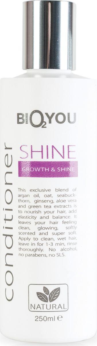 BIO2You Kондиционер Shine для блеска и роста волос, 250 мл961715Нежный кондиционер с аргановым маслом, овсянкой, облепихой, женьшенeм, алоэ вера и экстрактoм зеленого чая питаeт волосы, пpидает волосам блеск и ощущение чистоты, делает волосы мягкими и шелковистыми. Нанести на чистые, влажные волосы, через 1-3 минут тщательно промыть. Не содержит спирта, парабенов и SLS.