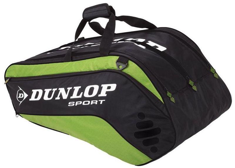 Сумка Dunlop D Tac Bio Pro 10r Therm, на 10 ракеток для тенниса, цвет: зеленый, черный817164Сумка Dunlop D Tac Bio Pro 10r Therm предназначена для переноски и хранения ракеток для тенниса. Конструкция выполнена из прочного 1680 и 420D полиэстера. Сумка имеет 3 отделения, вмещающие до 10 ракеток, а также изолированное термо отделение и встроенный карман для обуви или мокрых вещей, боковой карман с внутренними отделениями для телефона/плеера, клипсой для ключей и кармашек для ценных вещей. Сумка имеет эргономичные плечевые лямки для удобства переноски.