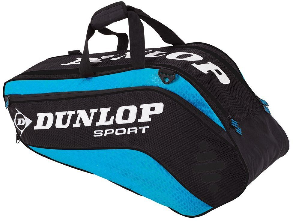 Сумка Dunlop D Tac Pro 6r Therm, на 6 ракеток для тенниса, цвет: голубой, черныйWRZ820606Сумка Dunlop D Tac Pro 6r Therm предназначена для переноски и хранения 6 ракеток для тенниса. Конструкция выполнена из прочного 1680 и 420D полиэстера. Сумка имеет 2 отделения, вмещающие до 6 ракеток, а также изолированное термо отделение и встроенный карман для обуви или мокрых вещей, боковой карман с внутренними отделениями для телефона/плеера, клипсой для ключей и кармашек для ценных вещей. Сумка имеет эргономичные плечевые лямки для удобства переноски.