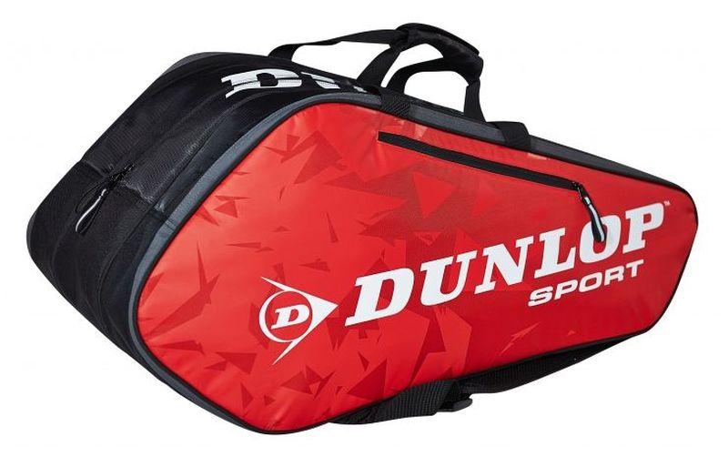 Сумка Dunlop D Tac Bio Pro 10r Therm, на 10 ракеток для тенниса. цвет: красный, черныйWRZ820606Сумка Dunlop D Tac Bio Pro 10r Therm предназначена для переноски и хранения ракеток для тенниса. Конструкция выполнена из прочного 1680 и 420D полиэстера. Сумка имеет 3 отделения, вмещающие до 10 ракеток, а также изолированное термо отделение и встроенный карман для обуви или мокрых вещей, боковой карман с внутренними отделениями для телефона/плеера, клипсой для ключей и кармашек для ценных вещей. Сумка имеет эргономичные плечевые лямки для удобства переноски.